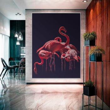 Tela Inteira Decorativa para Sala de Jantar Flamingo I - Mundo Animal