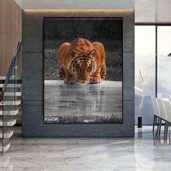 Tela Inteira Decorativa para Sala de Jantar Tigre I - Mundo Animal