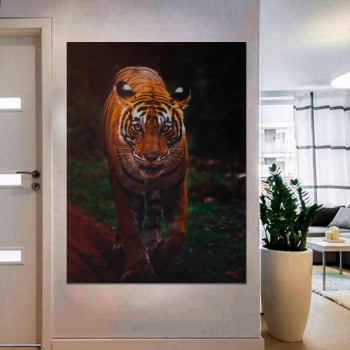 Tela Inteira Decorativa Tigre IV para Sala de Estar - Mundo Animal