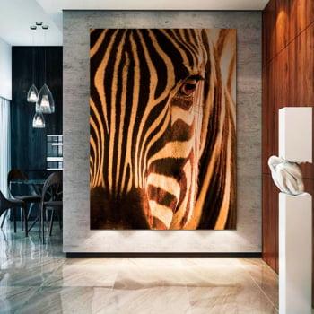 Tela Inteira Decorativa Zebra II para Sala de Jantar - Mundo Animal