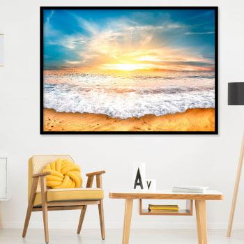 Quadro Decorativo para Sala Praia, Sol e Ondas - Paisagens