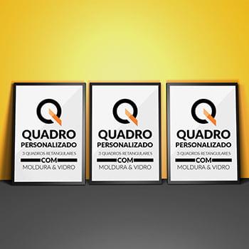 Conjunto 3 Quadros Personalizados Retangular Moldura e Vidro