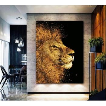Quadro Decorativo para Sala Leão Dourado - Linha Gold