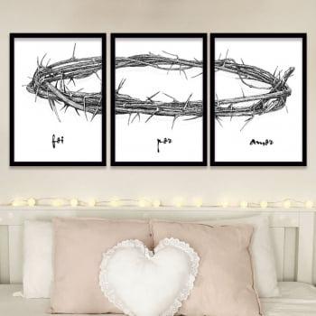 Quadro Foi por Amor Oficial Coroa de Jesus Cristo