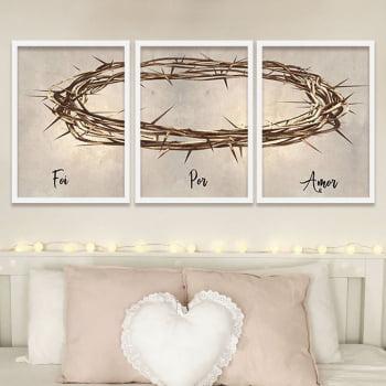 Quadro Foi Por Amor Vintage Coroa de Jesus Cristo para Sala - Religiosos