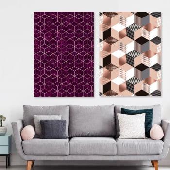 Conjunto de 2 Quadros Decorativos - Cubo Rosa - Rose Gold -