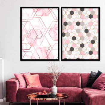 Conjunto de 2 Quadros Decorativos - Hexagono Rosa - Rose Gold -