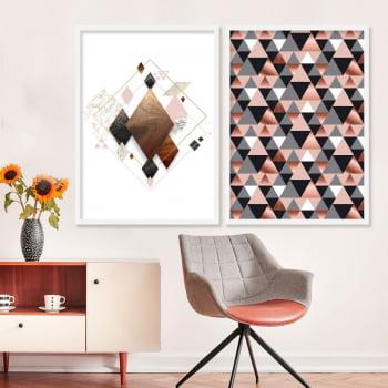 Conjunto de 2 Quadros Decorativos - Losango e Triangulo Rosa - Rose Gold -