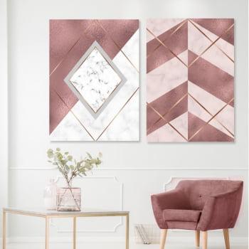 Conjunto de 2 Quadros Decorativos - Losango Marmore Rosa - Rose Gold