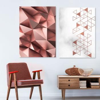 Conjunto de 2 Quadros Decorativos - Triangulo Rosa - Rose Gold -