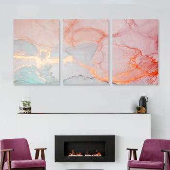 Conjunto de 3 Quadros Decorativos para Sala Rosé Quartz - Rose Gold
