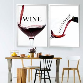 Conjunto de 2 Quadros Decorativos - Wine nectar of life- Vinhos  -