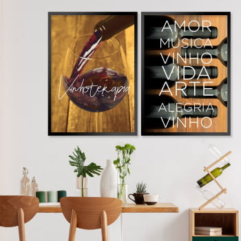 Conjunto de 2 Quadros Decorativos - Wine therapy- Vinhos  -
