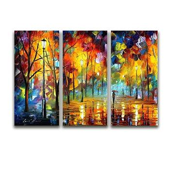 Tela Canvas para Sala 3 Peças Passeio no Bosque - Artes