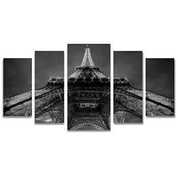 Tela Canvas para Sala 5 Peças Torre Eiffel Close - Corporativo